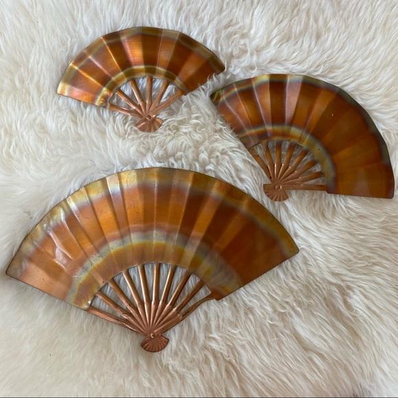Vintage Metal Copper Fan Wall Decor Set